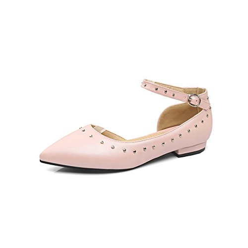 Pointed Toe Ladies Jane Buckle Flats Urethane BalaMasa Mary Grommets Pink c7WBnAA