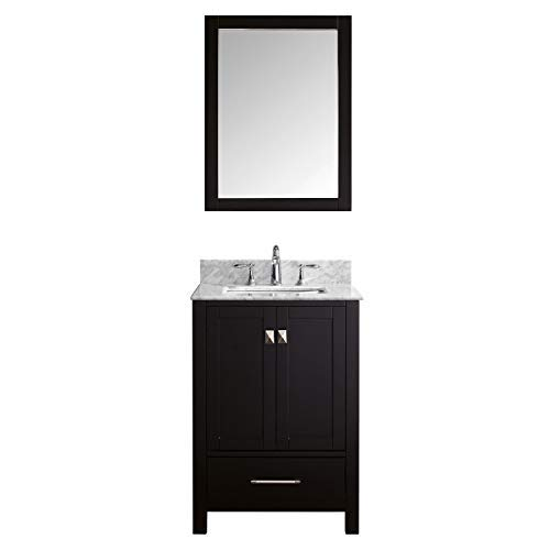 - Virtu USA Caroline Avenue 24 inch Single Sink Bathroom Vanity Set in Espresso w/Square Undermount Sink, Italian Carrara White Marble Countertop, No Faucet, 1 Mirror - GS-50024-WMSQ-ES
