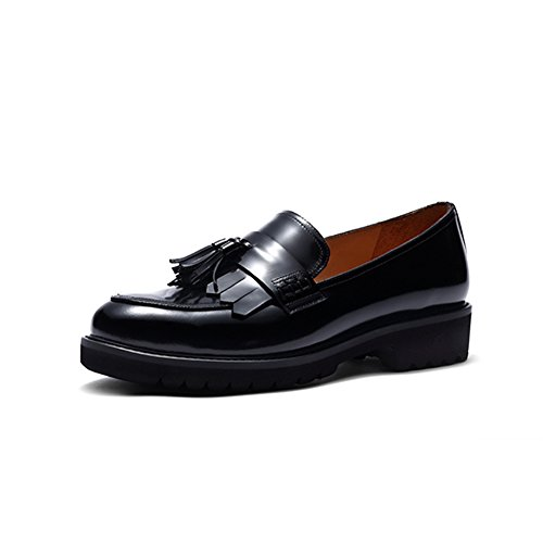 Leather Loafer Heels (Womens Loafer Flat Shoes Ladies Leather Work Pump School Shoe Classic Fringe Tassel Casual Round Toe Thick Sole Low Wedge Heel (8, Black))