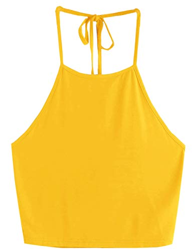 Romwe Women's Casual Cute Sleeveless Vest Halter Cami Crop Top Yellow M -