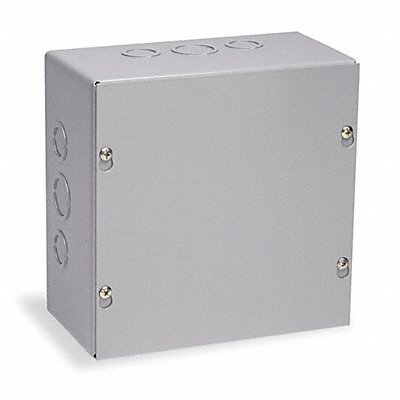 Wiegmann SC080804 SC-Series NEMA 1 Screw Cover Wallmount Pull Box with Knockouts, Painted Steel, 8'' x 8'' x 4''