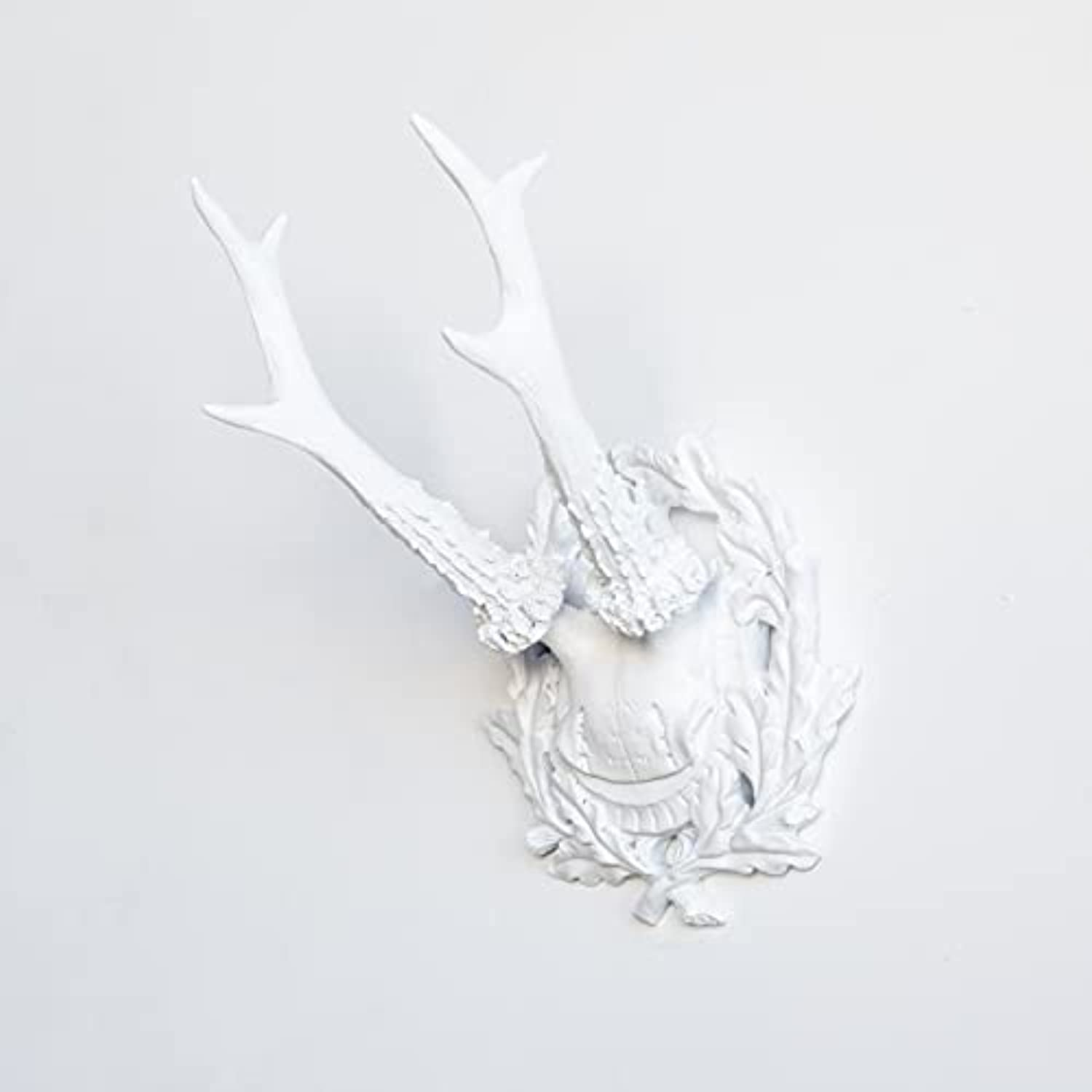 Near and Deer Faux Taxidermy Collection of 3 Fancy Antlers Wall Mount, Small, White