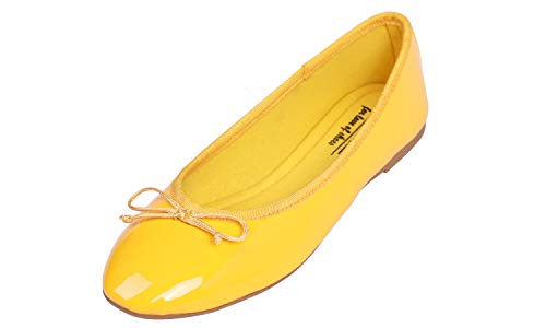 Feversole Women's Macaroon Colorful Memory Foam Cushion Insock Patent Ballet Flat Bright Yellow