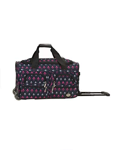Fleur De Lis Luggage (Rockland Luggage Rolling 22 Inch Duffle Bag, Icon, One)