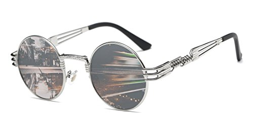GAMT Fashion Classic Steampunk Round Sunglasses Metal Frame for Men and Women - Fashion Steampunk Men