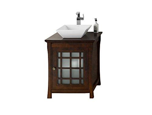 Distressed Nickel Fairmont Single Handle (RONBOW Shoji 27 inch Bathroom Vanity Set in Vintage Walnut, Bathroom Vanity with Top with Single Faucet Hole in Solid Wood Finish and Cabinet Shelf, White Ceramic Vessel Sink)