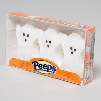 CANDY MARSHMALLOW GHOSTS 3PK HALLOWEEN PEEPS 1-1/8OZ USA, Case Pack of 24