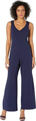 Marina Women's Stretch Crepe Sleeveless V-Neck Bar-Back Jumpsuit Navy 8