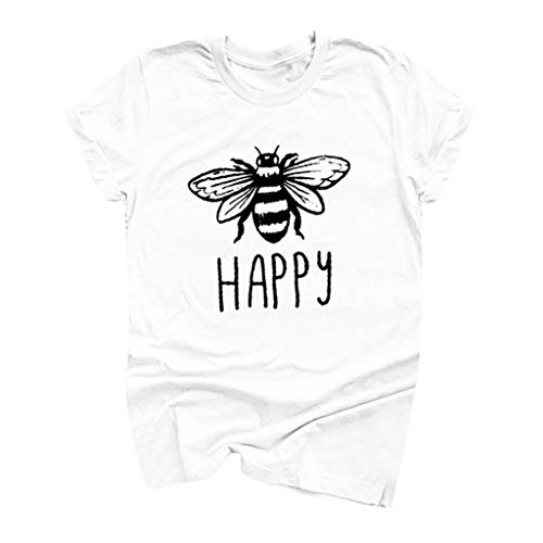 (Answerl Happy Graphic Tee Shirt for Women Teen Girls Short Sleeve Letter Print Graphic Tee Shirt Top Funny Blouse White )