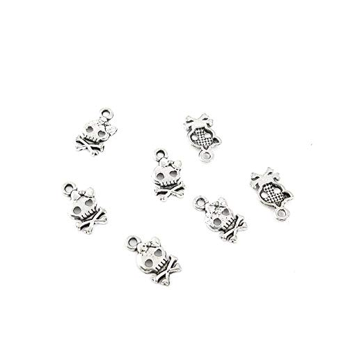 Qty 40 Pieces Ancient Silver Jewelry Making Charms Findings Z0088 Skull Pendent Bulk for Bracelet Necklace