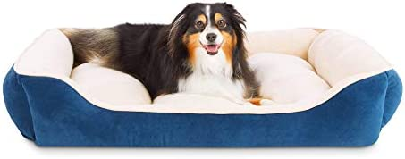 Animaze Navy Rectangle Bolster Dog Bed