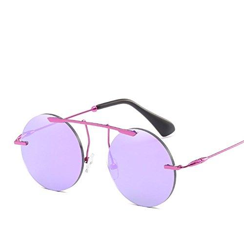 Gafas UV Conducir Viaje Blue Antideslumbrantes Purple Sin Retro Marco Personalidad Redonda Hombres De Gafas Para Sol Adecuado Anti 6UqSSO