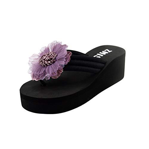 (Sunhusing Womens Summer Three-Dimensional Flower Decor Clip Toe Wedges Flip-Flops Beach Sandals Home Slippers Purple)