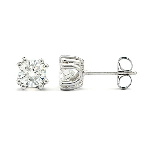 Created Moissanite Earring Studs (5.0mm Round Brilliant Cut Moissanite Sterling Silver Stud Earrings, 1.00cttw DEW By Charles & Colvard)