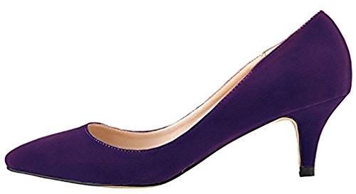 Calaier Ladies Cacanada 3cm Stiletto Slip On Pumps Scarpe Viola