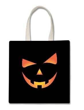 Scary Spooky Halloween Pumpkin Face Halloween Trick Or Treat Polyester White Tote Bag 15x16x -