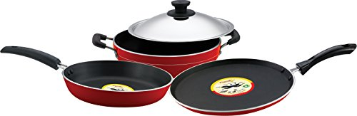 Pigeon Rapido Induction Base Non-Stick Cookware Gift Set, 4 Pieces, Red