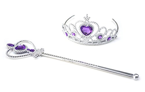 Kuzhi Frozen Crown Tiara and Wand Set - Silver Heart Jewel (Dark Purple)