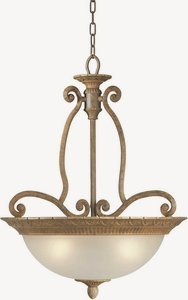 Forte Lighting 2433-04-17 Traditional 4-Light Pendant with Shaded Umber Glass, Chestnut Finish