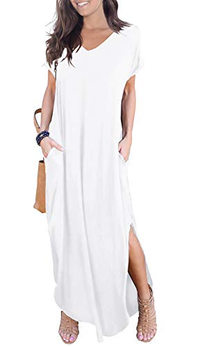 GRECERELLE Women's Casual Loose Pocket Long Dress Short Sleeve Split Maxi Dresses White-2XL