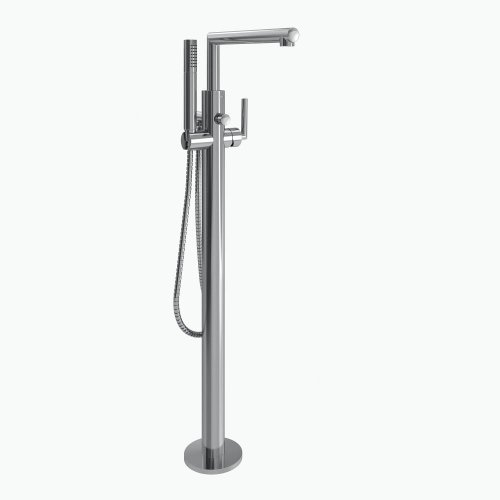 Tub Collection Exposed (Moen S93005 Arris Floor Mounted One-Handle Tub Filler with Hand Shower and Tub Risers, Chrome)