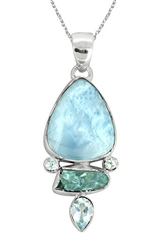 "YoTreasure 2"" Larimar Rough Apatite 925 Sterling Silver Chain Pendant Necklace"