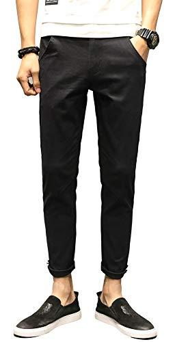 - Plaid&Plain Men's Slim Khaki Stretch Casual Pants Cropped Chino Pants Black 33