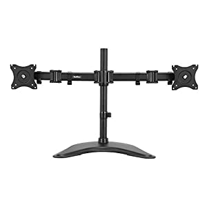 "VonHaus Free Standing Heavy Duty Double Arm Dual Monitor Stand - LCD LED Twin Screen Mount Desk Stand for 13-27"" Screens with ±45° Tilt & ±180° Swivel Adjustment, Fully Adjustable Bracket"