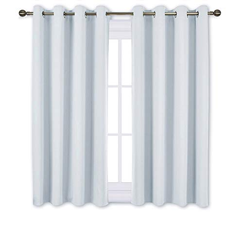 NICETOWN Room Darkening Curtains for Living Room - Window Treatment Thermal Insulated Grommet Room Darkening Panels/Drapes for Bedroom (Light Grey=Greyish White, 2 Panels, 52 by 45) (Living For Curtains Short Room)