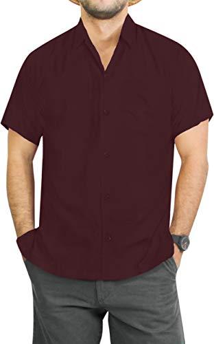 LA LEELA Tropical Shirt for Men Plain Swimsuit Maroon_W876 7XL | Chest 70