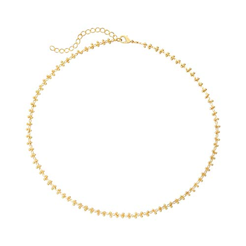 SEAYII Women Satellite Choker Necklace Gold Double Bead 14K Gold Fill Trendy Dainty Chain Short Boho Beach Simple Delicate Handmade Gold Jewelry Gift