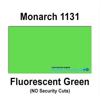 160,000 Monarch 1131 Compatible Fluorescent Green General Purpose Labels for Monarch 1131 Price Guns. Full Case + 8 Ink Rollers. NO Security cuts.