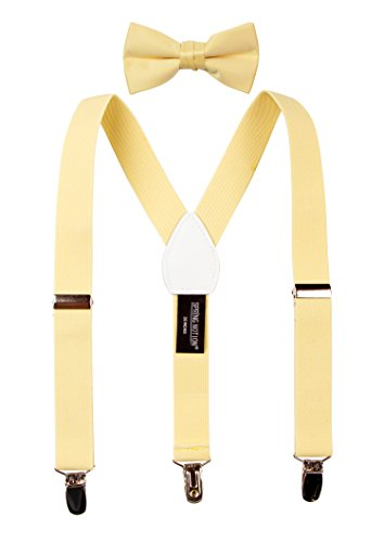 Spring Notion Boys' Suspenders and Solid Color Bowtie Set Yellow Large -