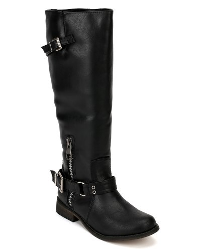 Breckelles Tenesee-15 Leatherette Gesp Rijlaars - Zwart