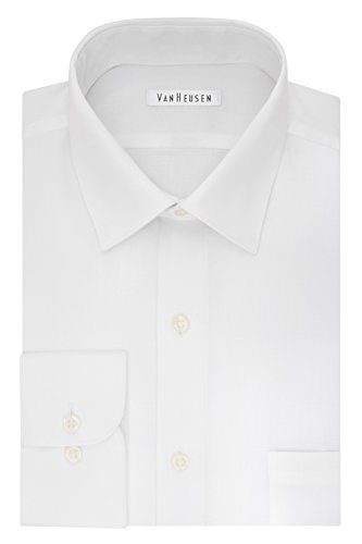 Van Heusen Men's Lux Sateen Regular Fit Solid Spread Collar Dress Shirt, White, 17