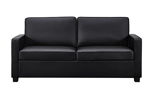 Signature Sleep 2151007 Casey Faux Leather Sofa with Memory Foam Mattress, Full, Black