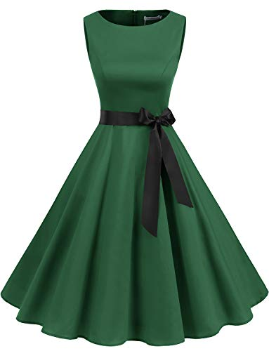 Gardenwed Women's Audrey Hepburn Rockabilly Vintage Dress 1950s Retro Cocktail Swing Party Dress Green M]()