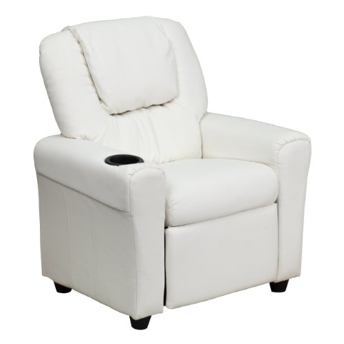MFO Contemporary White Vinyl Kids Recliner with Cup Holder and Headrest