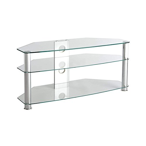 - TV Stand Clear Glass TV Stand - Suits for 42 50 55 Inch for Flat Screen TV's - Universal Floor Media Entertainment Center Storage Unit, Great for Living Room, Against a Flat Wall or as a Corner Stand