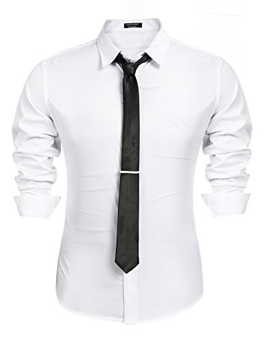 Coofandy Mens Slim Fit Stylish Long Sleeve Button Down Shirt With Matching - Tie And Shirt Dress