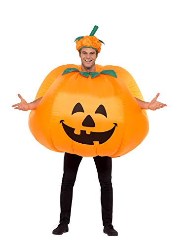 Smiffys Men's Pumpkin Costume, Inflatable with Built in Fan, Bodysuit and Hat, Halloween, One Size, 28694