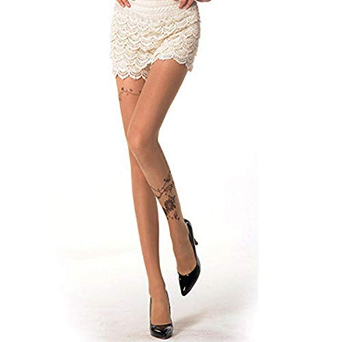 Printed Pantyhose Special Tattoo Stockings Sexy Fishnet Stockings, Flower of Butterflies Pattern Nude E