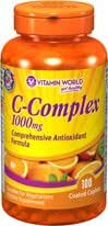 Vitamin World C-Complex 1000 mg.Vitamin C is The Leading Vitamin for Immune Support and it is one of The Best antioxidants for Fighting Free radicals. 100 Coated caplets