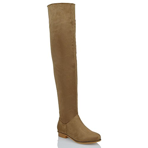ESSEX GLAM Womens Over The Knee HIGH Flat Ladies Long Faux Suede Thigh HIGH Boots Size 3-8 Mocha Faux Suede