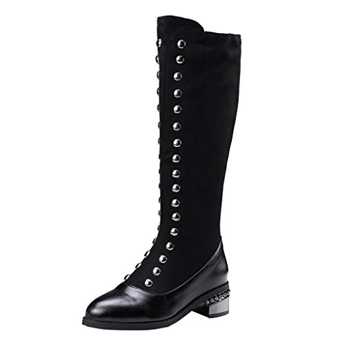 Midress Women Knee High Boots Fashion Slip-On Leather Shoes Motorcycle Cool Socks Boots Fashion High Boots