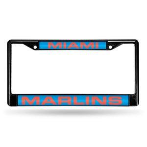 Rico Industries RIC-FCLB6501 Miami Marlins MLB Laser Cut Black License Plate Frame