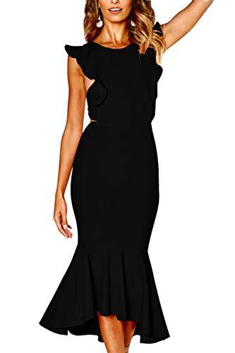 Almaree Women Round Neck Ruffle Sleeve Open Back Midi Dress Fishtail Hem Gown Black L ()