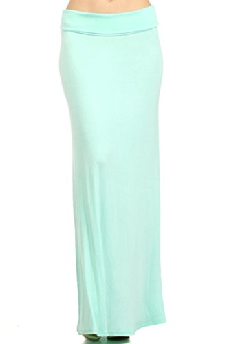 Casual High Waisted Solid/Printed Long Maxi Skirt/Made in USA Aqua M ()