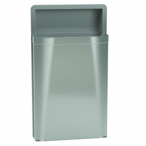 - Bradley 3A05-100000 Diplomat Stainless Steel Semi-Recessed Mounted Waste Receptacle, 12 Gallon Capacity, 17-1/8