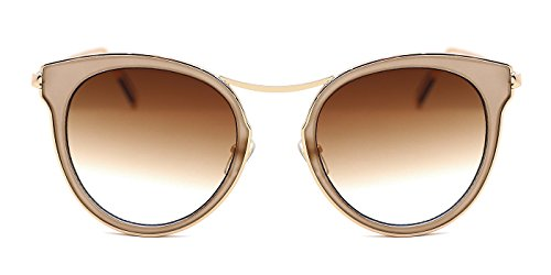 TIJN Gold-plated Womens Sunglasses Cat Eye Mirrored Metal - Glassess Sun